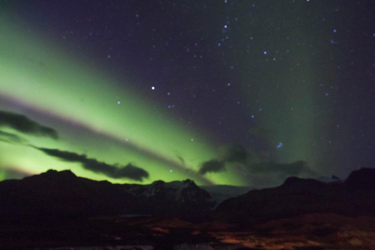aurora borealis from behind Hotel Skaftafell