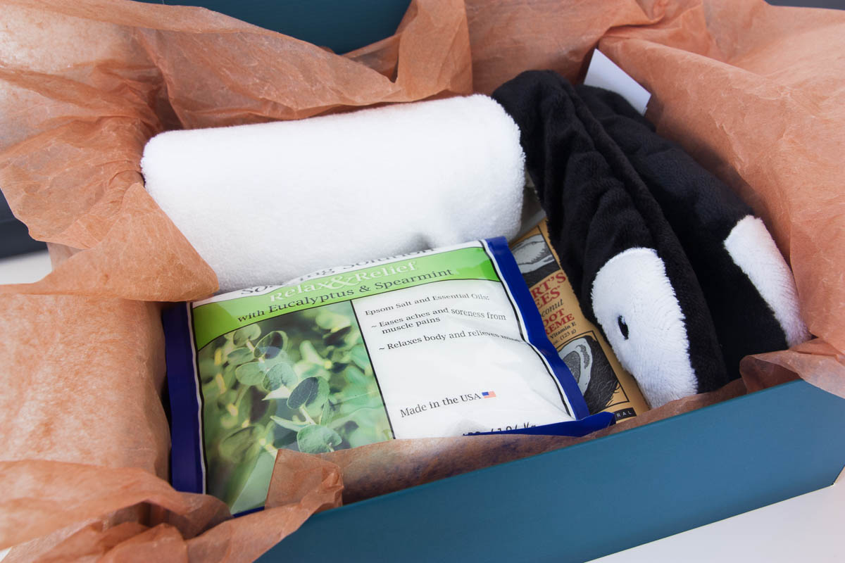 foot spa gift set: epsom salt, towel, foot cream, slippers